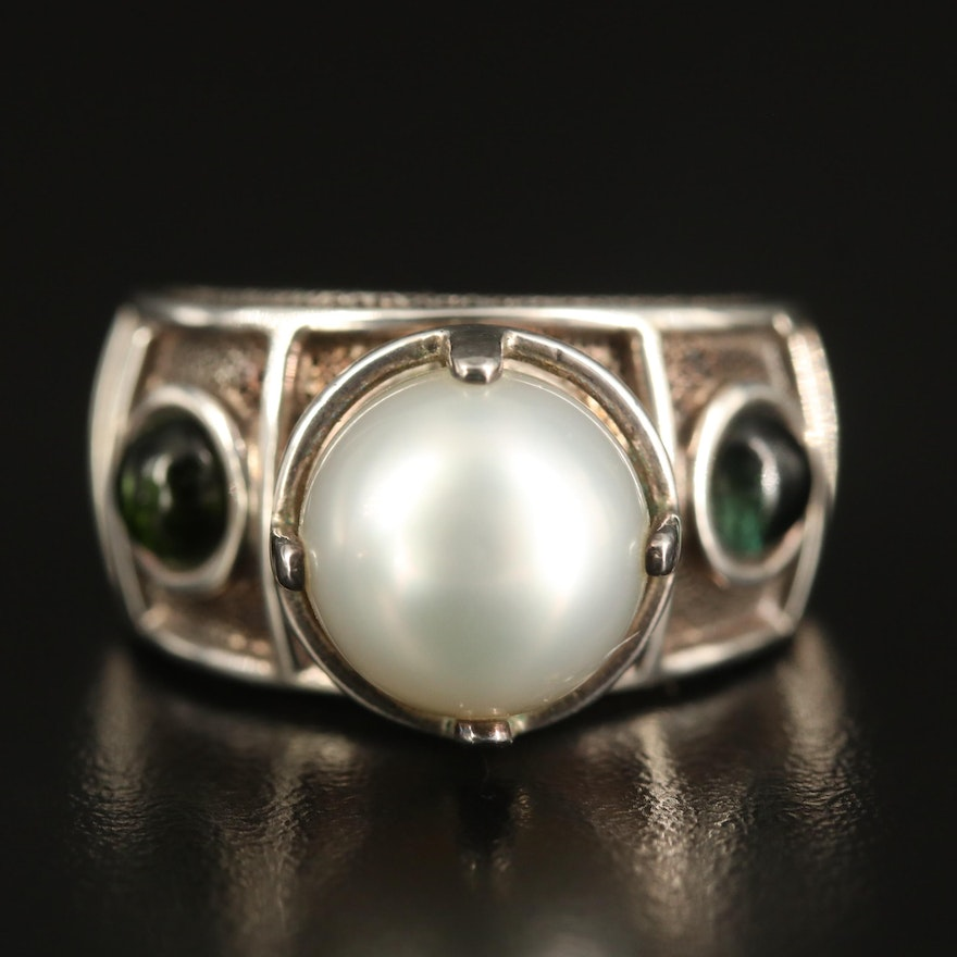 Laurent Leger 950 Silver Pearl and Tourmaline Ring
