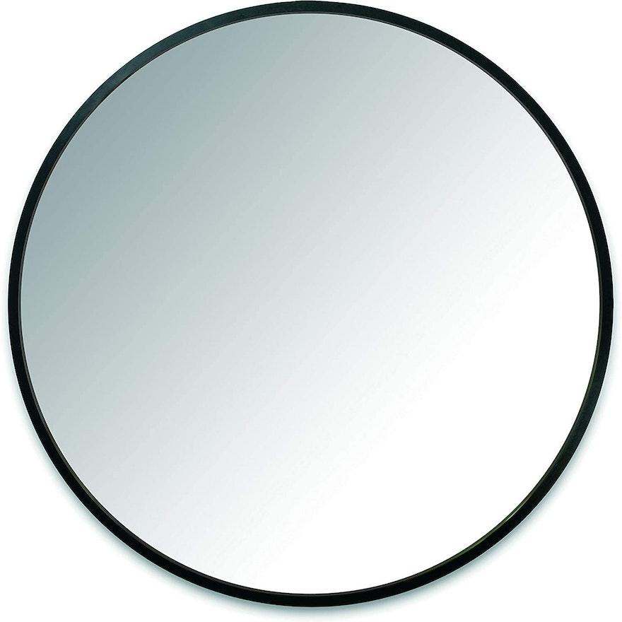 "Paul Rowan for Umbra ""Hub"" Black Rubber Framed Wall Mirror, Contemporary"