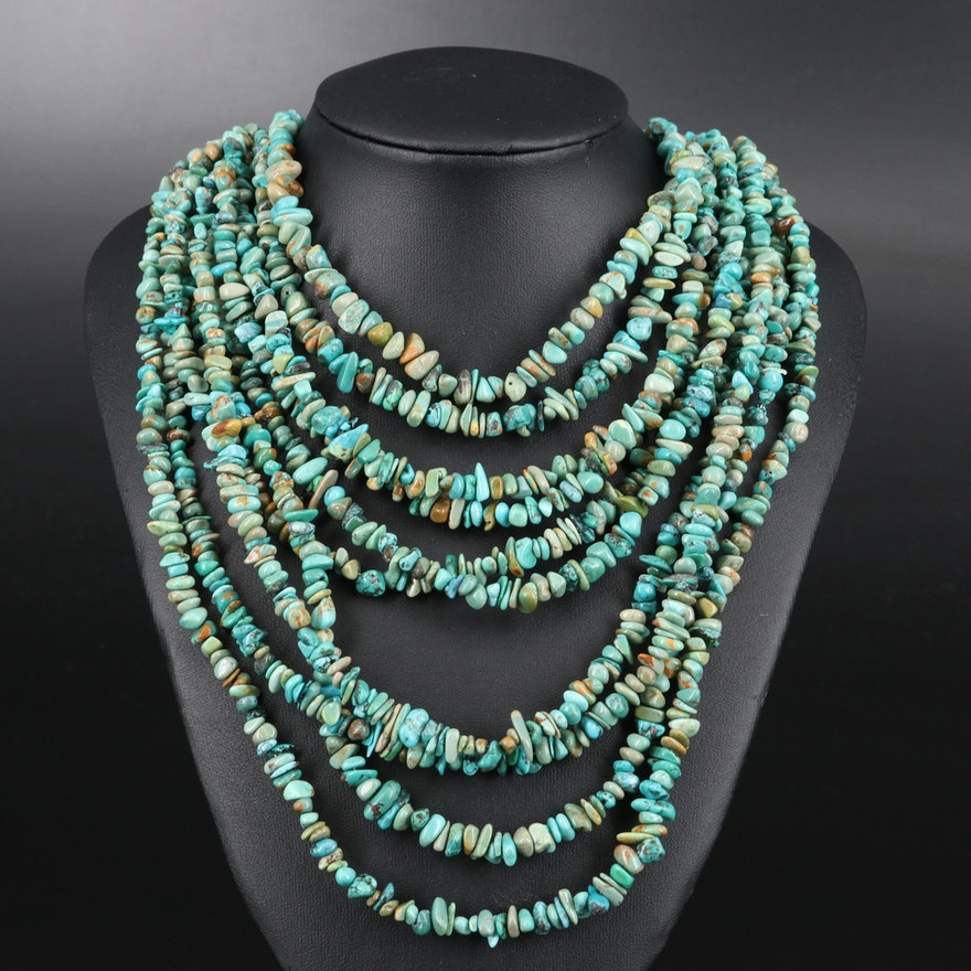 Desert Rose Trading Sterling Turquoise Multi-Strand Necklace