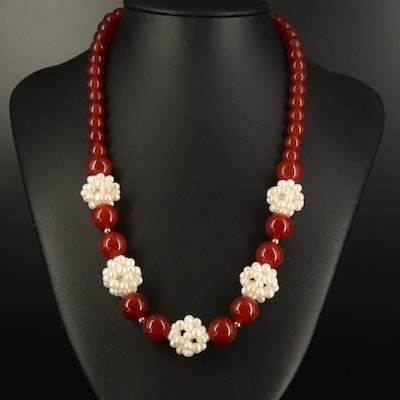 Zoë B. Carnelian and Pearl Graduated Necklace with 14K Clasp