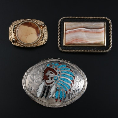 Rhodochrosite Agate and Stone Resin Belt Buckles