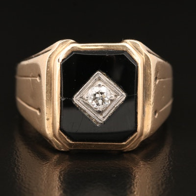 Vintage 10K Black Onyx Ring with Palladium and Diamond Center Accent