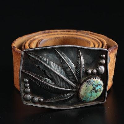 Southwestern Style Turquoise Leather Belt