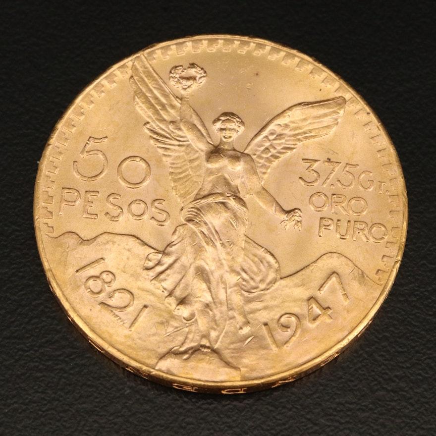 1947 Gold Mexican Centenario 50 Peso Coin