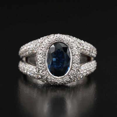 18K 1.85 CT Sapphire and 2.84 CTW Pavé Diamond Ring
