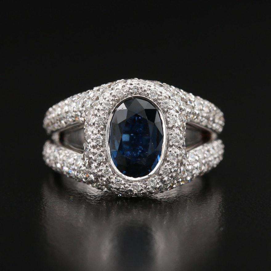 18K 1.85 CT Sapphire and 2.84 CTW Pavé Diamond Ring
