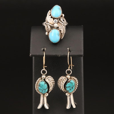 Jamison Kee Navajo Diné Ring with Southwestern Turquoise Squash Blossom Earrings