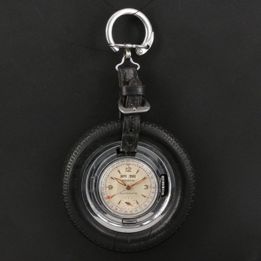 Vintage Marvin Autodate Tire Keychain Watch