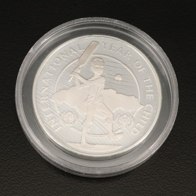 "Sterling Silver Jamaica ""Year of the Child"" 10 Dollar Coin, 1979"