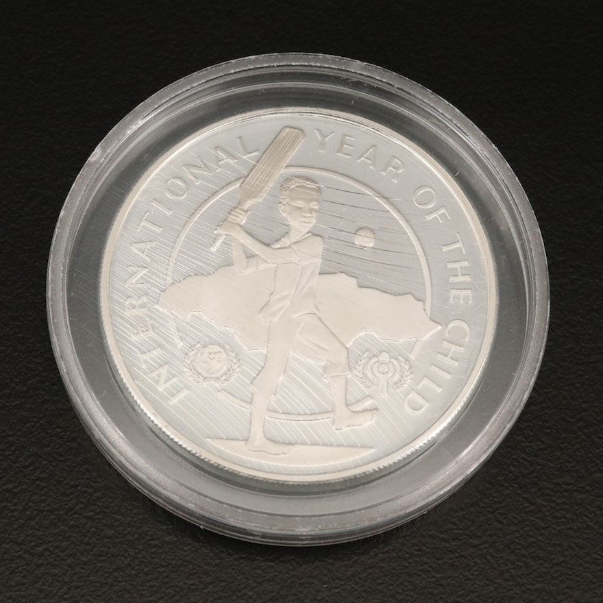 """Sterling Silver Jamaica """"Year of the Child"""" 10 Dollar Coin, 1979"""