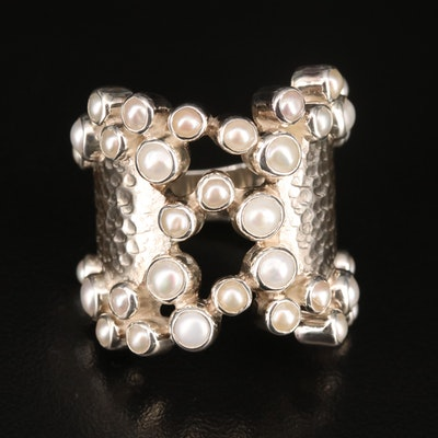 Laurent Leger 950 Silver Pearl Cluster Ring