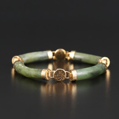 Nephrite Bar Bracelet with Good Fortune, Longevity and Prosperity Characters