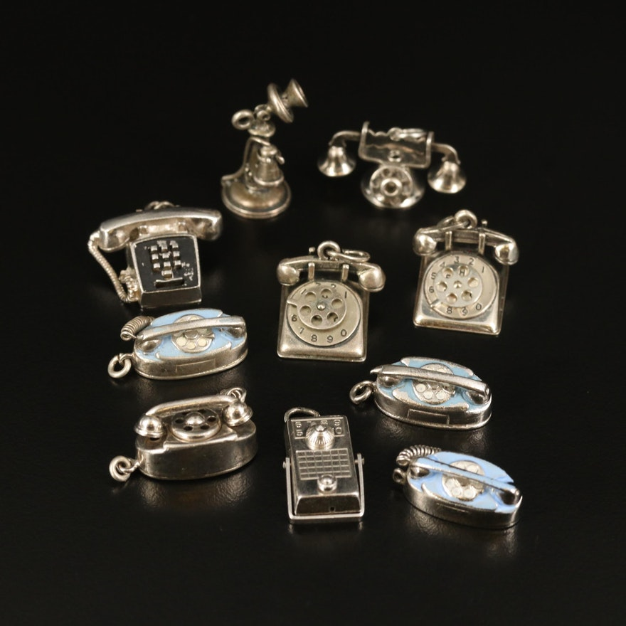 Vintage Telephone Charm Selection Including Sterling