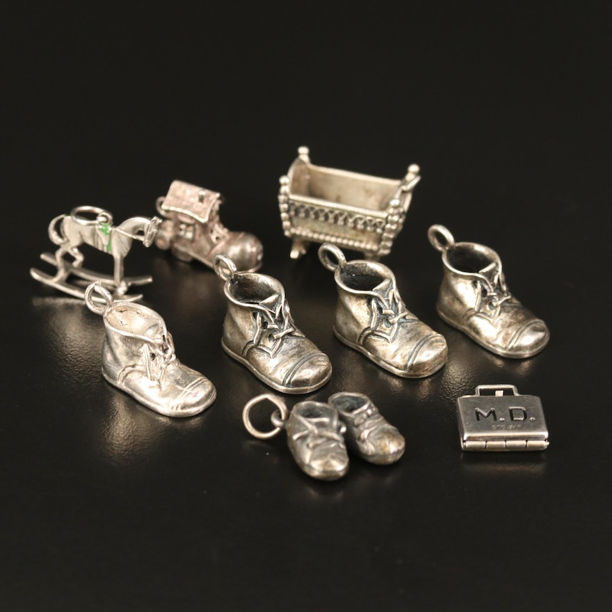 Vintage Sterling Charm Selection Including Children's Shoes and Cradle Charms
