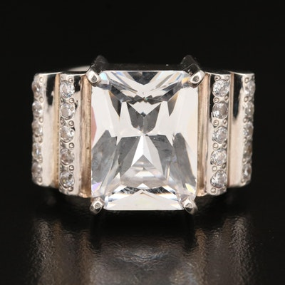 Laurent Leger 950 Silver Cubic Zirconia Statement Ring