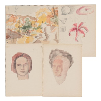 Florence Smithburn Embellished Watercolor Paintings, Mid-20th Century