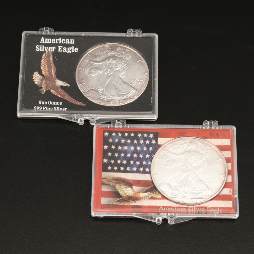 Two $1 American Silver Eagle Bullion Coins, 2002 and 2007