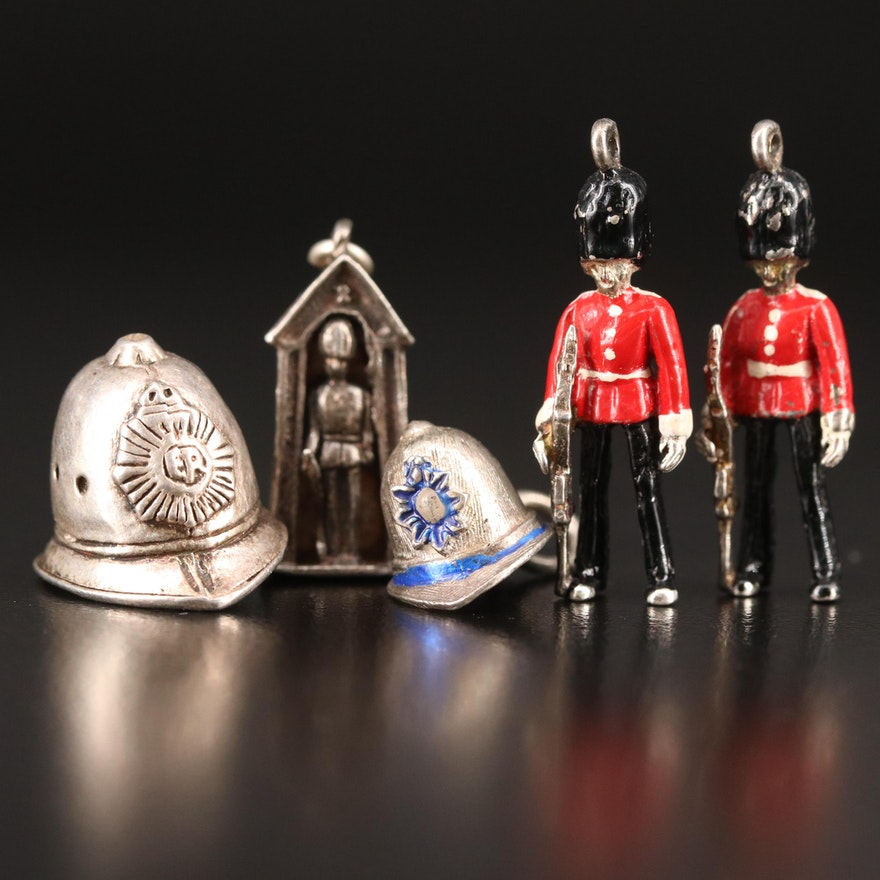 Vintage Sterling Queens's Guard and Firefighter Helmet Pendants and Charms