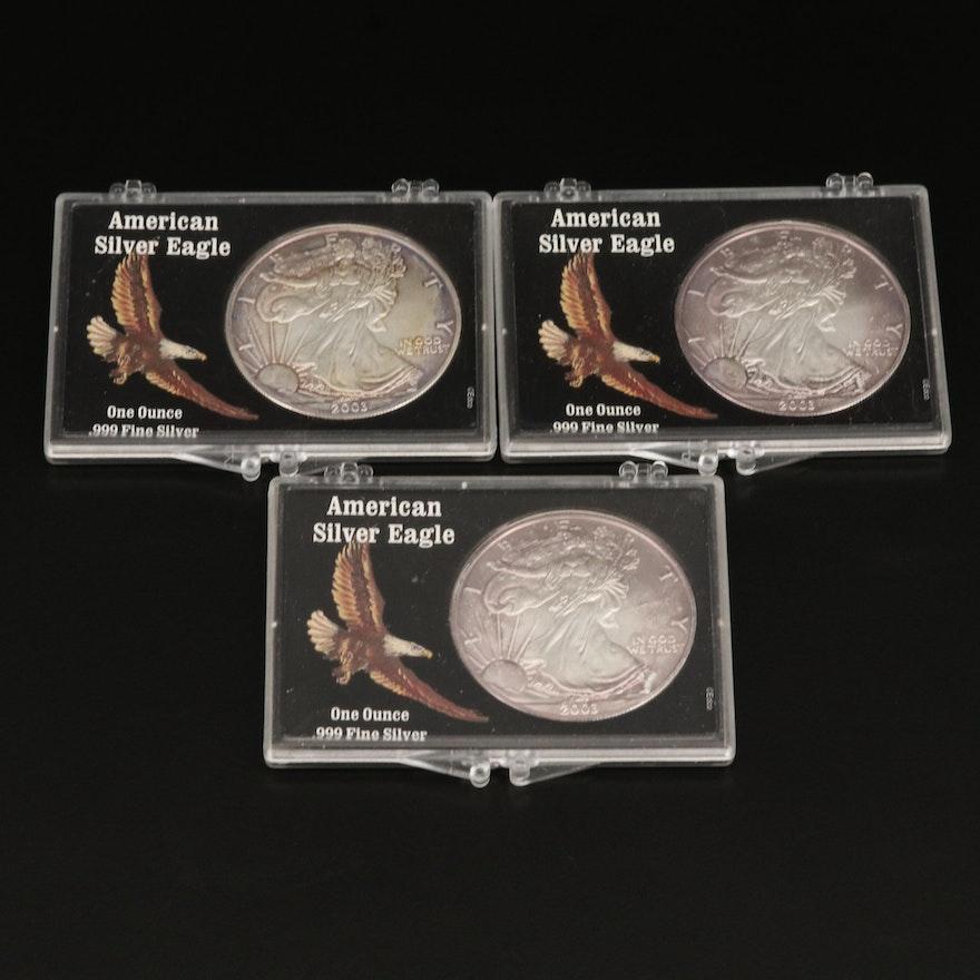 Three 2003 $1 American Silver Eagle Bullion Coins