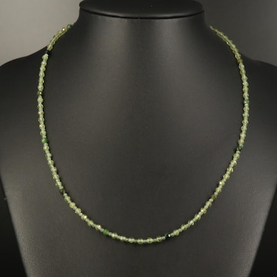 Peridot, Tourmaline, and Apatite Beaded Necklace with Sterling Clasp