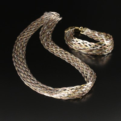Italian Sterling Silver Braided Herringbone Necklace and Milor Bracelet