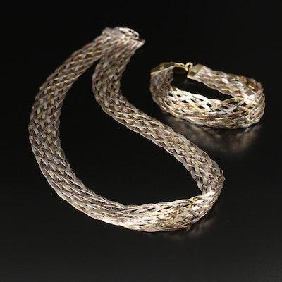 Italian Sterling Silver Braided Herringbone Necklace and Milor Bracelet