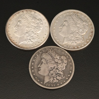 Three Morgan Silver Dollars Including Toned 1891-O