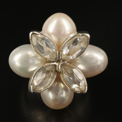 Laurent Leger 950 Silver Pearl and White Topaz Floral Ring