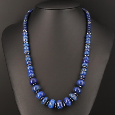 Graduated Lapis Lazuli and Hematite Necklace with Sterling Clasp