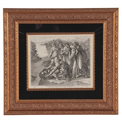"""Engraving after Raphael Sanzio da Urbino """"Moses Saved From the Water"""""""