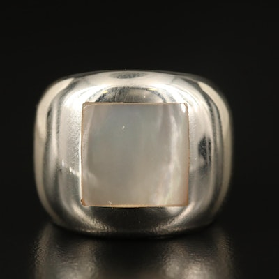 Laurent Leger 950 Silver Mother of Pearl Inlay Ring