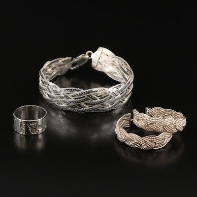 Sterling Ring, Hoop Earrings and Milor Braided Herringbone Chain Bracelet