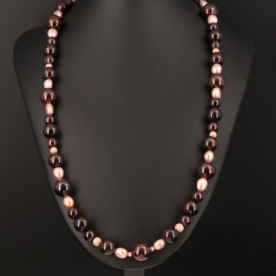 Pearl and Garnet Bead Necklace