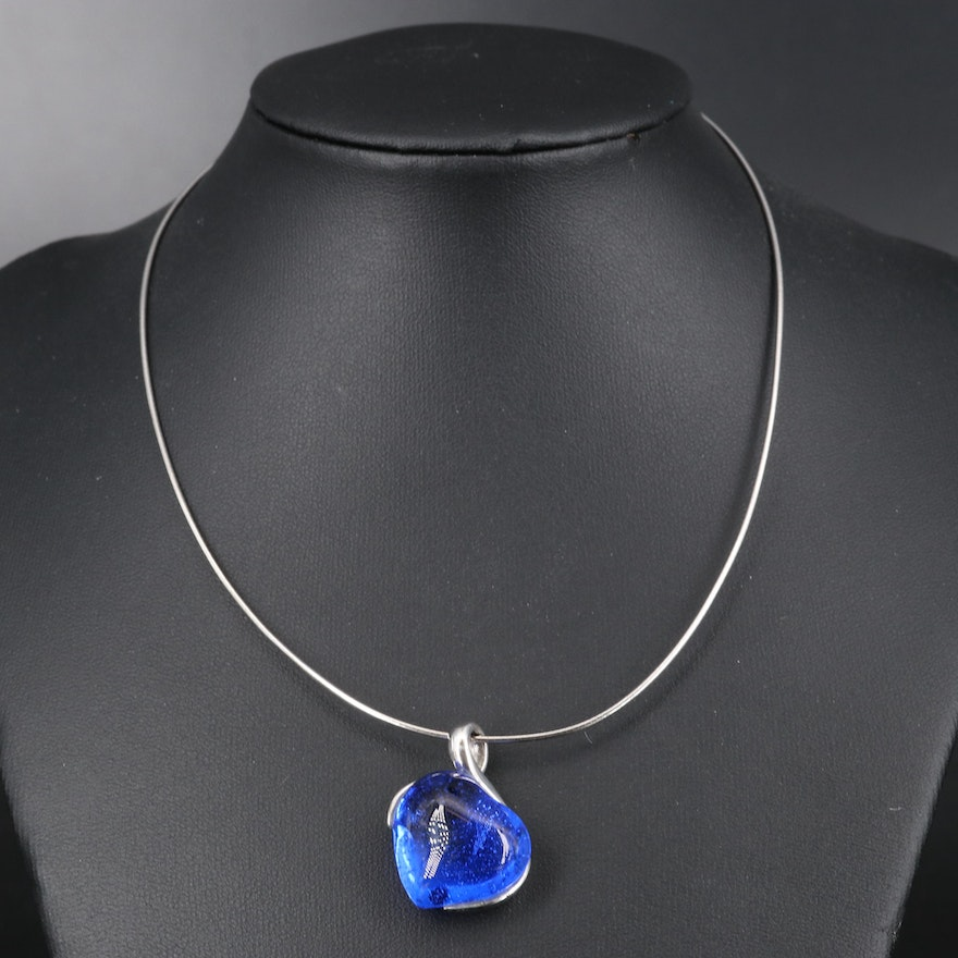 Daum Sterling Crystal Heart Pendant on Chain Necklace