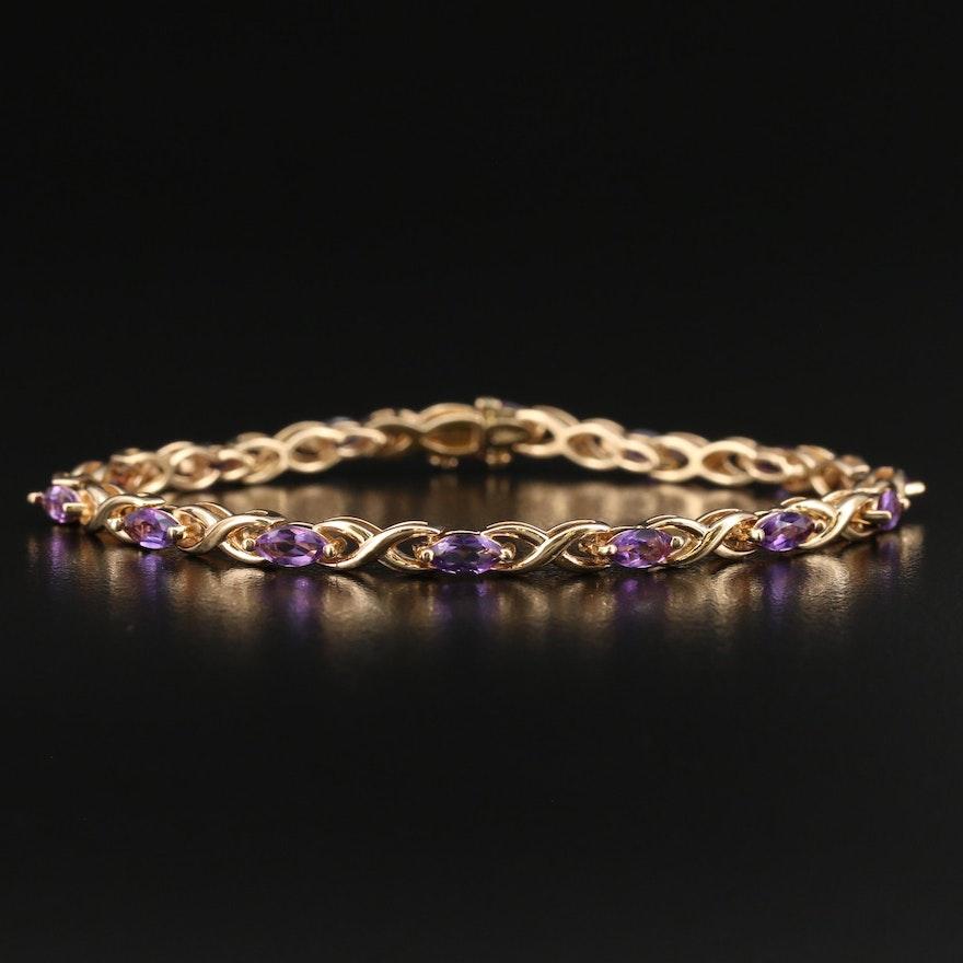 14K Amethyst Link Bracelet
