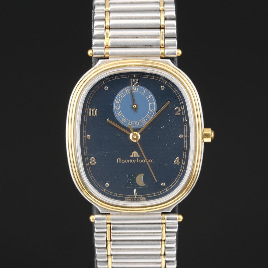 Vintage Maurice Lacroix Le Classique Moonphase Two-Tone Wristwatch