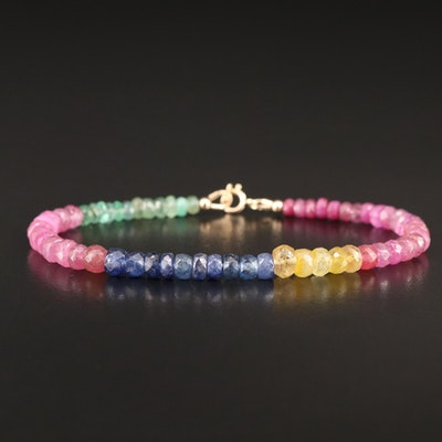 Graduated Beaded Gemstone Bracelet with Sapphire, Emerald, Ruby and 10K Clasp