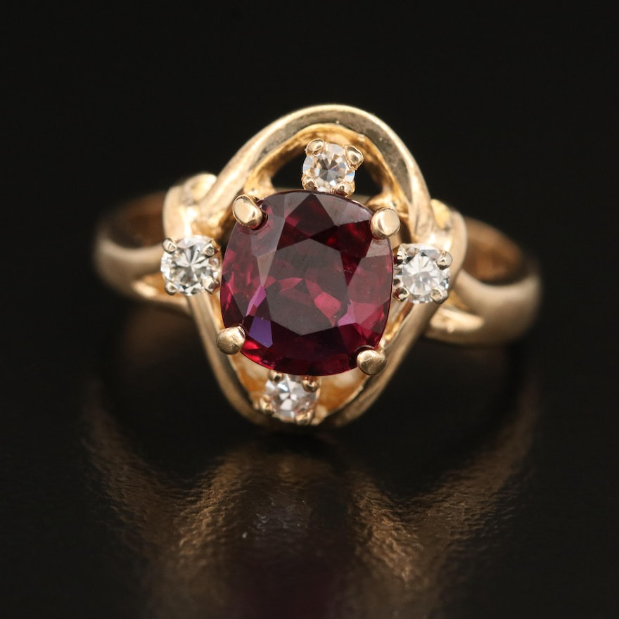 14K 1.71 CT Ruby and Diamond Ring