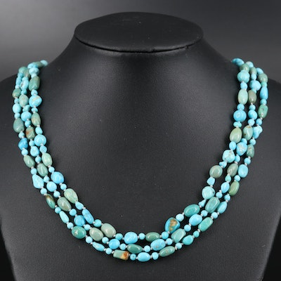 Sterling Turquoise Triple Strand Necklace