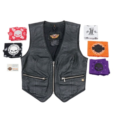 Women's Harley-Davidson Leather Vest, $50 Gift Card, and Handmade Head Wraps