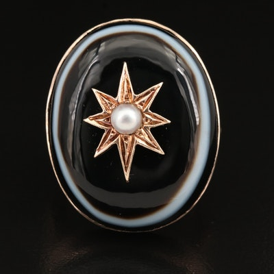 Victorian 10K Pearl and Bullseye Agate Star Ring