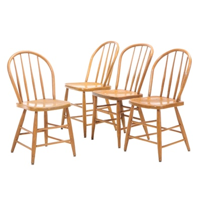 Four Bow-Back Windsor Style Oak and Poplar Dining Chairs