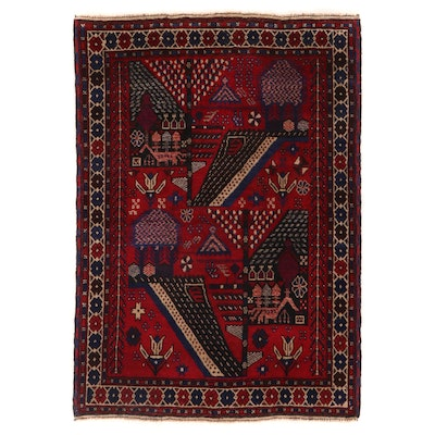 3'1 x 4'6 Hand-Knotted Pictorial Wool Accent Rug
