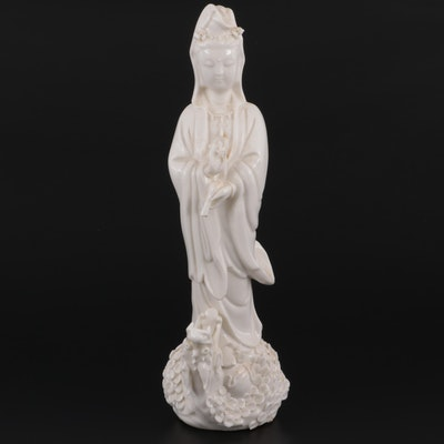 Chinese Blanc de Chine Porcelain Guan Yin on Dragon Figurine
