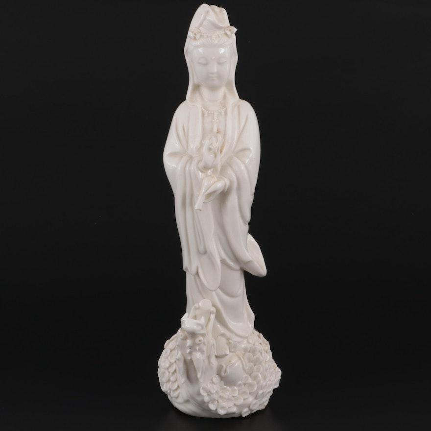 Chinese Blanc de Chine Porcelain Guan Yin on Dragon Figurine