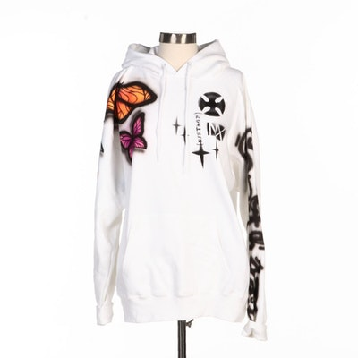 NXRTH 471 White Cotton Sweatshirt with Airbrushed Butterflies
