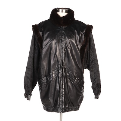 Reversible and Convertible Mink and Leather Coat