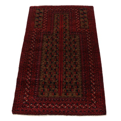 2'9 x 4'9 Hand-Knotted Afghan Baluch Prayer Rug