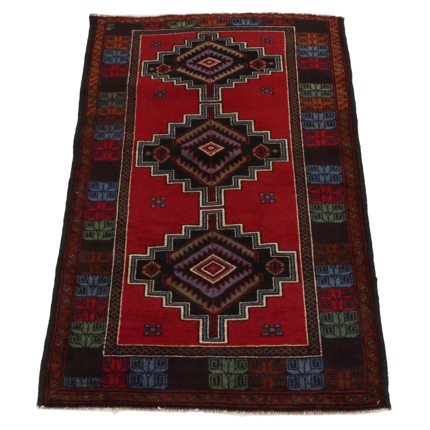 3'3 x 4'7 Hand-Knotted Afghan Baluch Wool Accent Rug