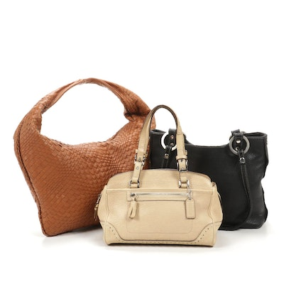Coach Satchel in Beige Grained Leather with Umberto and Ombu Bags